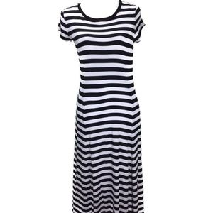 Michael Kors Women Stripe Slit Maxi Long Dress M